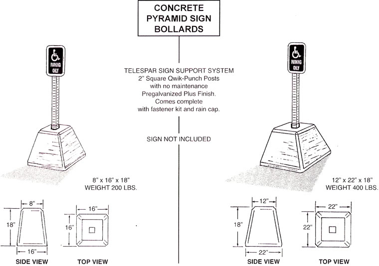 Pyramid Traffic And Sign Bollards Cone Parking Bollard