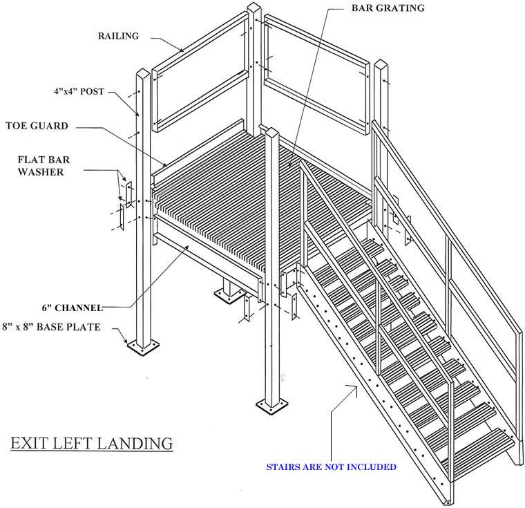 prefabricated stair landings exit left  prefabricated