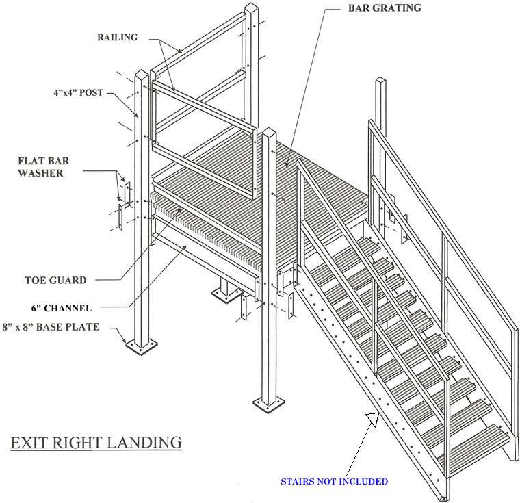 prefabricated stair landings exit right  prefabricated
