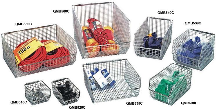 wire mesh stack hang bins - Industrial Storage Bins
